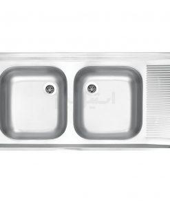 سینک دو لگن استیل البرز مدل کلاسیک 50×100
