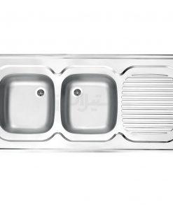 سینک دو لگن توکار استیل البرز مدل کلاسیک 60×120